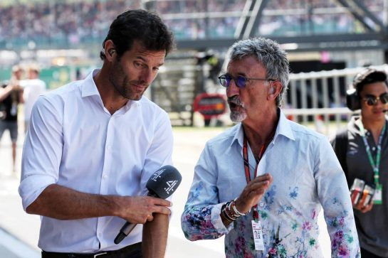 (L to R): Mark Webber (AUS) Channel 4 Presenter with Eddie Jordan (IRE). 07.07.2018. Formula 1 World Championship, Rd 10, British Grand Prix, Silverstone, England, Qualifying Day. - www.xpbimages.com, EMail: requests@xpbimages.com - copy of publication required for printed pictures. Every used picture is fee-liable. © Copyright: Batchelor / XPB Images