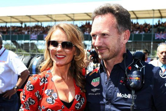 Christian Horner (GBR) Red Bull Racing Team Principal with wife Geri Horner(GBR) Singer on the grid. 08.07.2018. Formula 1 World Championship, Rd 10, British Grand Prix, Silverstone, England, Race Day. - www.xpbimages.com, EMail: requests@xpbimages.com - copy of publication required for printed pictures. Every used picture is fee-liable. © Copyright: Photo4 / XPB Images