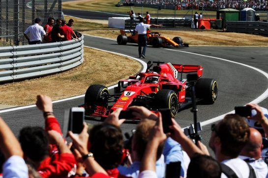 Race winner Sebastian Vettel (GER) Ferrari SF71H celebrates in parc ferme. 08.07.2018. Formula 1 World Championship, Rd 10, British Grand Prix, Silverstone, England, Race Day. - www.xpbimages.com, EMail: requests@xpbimages.com - copy of publication required for printed pictures. Every used picture is fee-liable. © Copyright: Moy / XPB Images