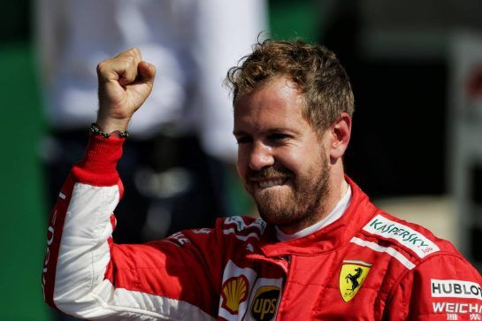 Race winner Sebastian Vettel (GER) Ferrari celebrates in parc ferme. 08.07.2018. Formula 1 World Championship, Rd 10, British Grand Prix, Silverstone, England, Race Day. - www.xpbimages.com, EMail: requests@xpbimages.com - copy of publication required for printed pictures. Every used picture is fee-liable. © Copyright: Moy / XPB Images