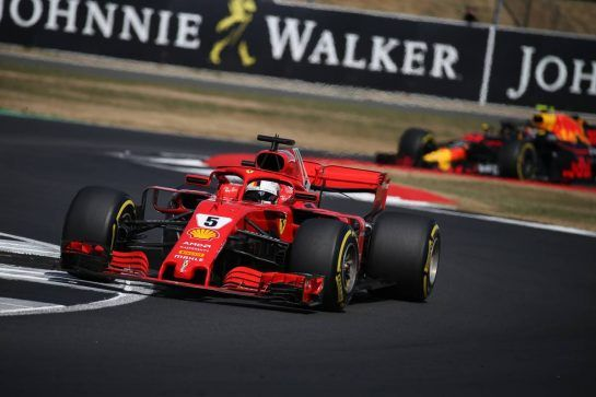 Sebastian Vettel (GER) Ferrari SF71H.08.07.2018. Formula 1 World Championship, Rd 10, British Grand Prix, Silverstone, England, Race Day.- www.xpbimages.com, EMail: requests@xpbimages.com - copy of publication required for printed pictures. Every used picture is fee-liable. © Copyright: Batchelor / XPB Images