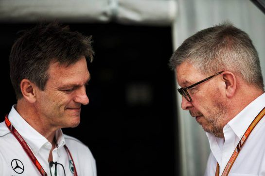 (L to R): James Allison (GBR) Mercedes AMG F1 Technical Director with Ross Brawn (GBR) Managing Director, Motor Sports. 08.07.2018. Formula 1 World Championship, Rd 10, British Grand Prix, Silverstone, England, Race Day.  - www.xpbimages.com, EMail: requests@xpbimages.com - copy of publication required for printed pictures. Every used picture is fee-liable. © Copyright: Rew / XPB Images