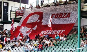 Fans of Robert Kubica (POL) Williams Reserve and Development Driver in the grandstands