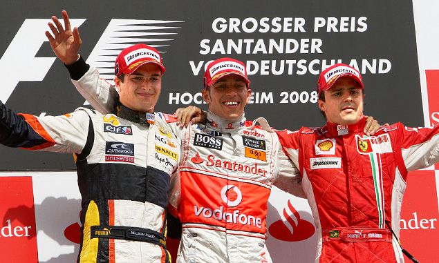 German Grand Prix 2008 - Nelson Piquet Jr., Lewis Hamilton and Felipe Massa on the podium