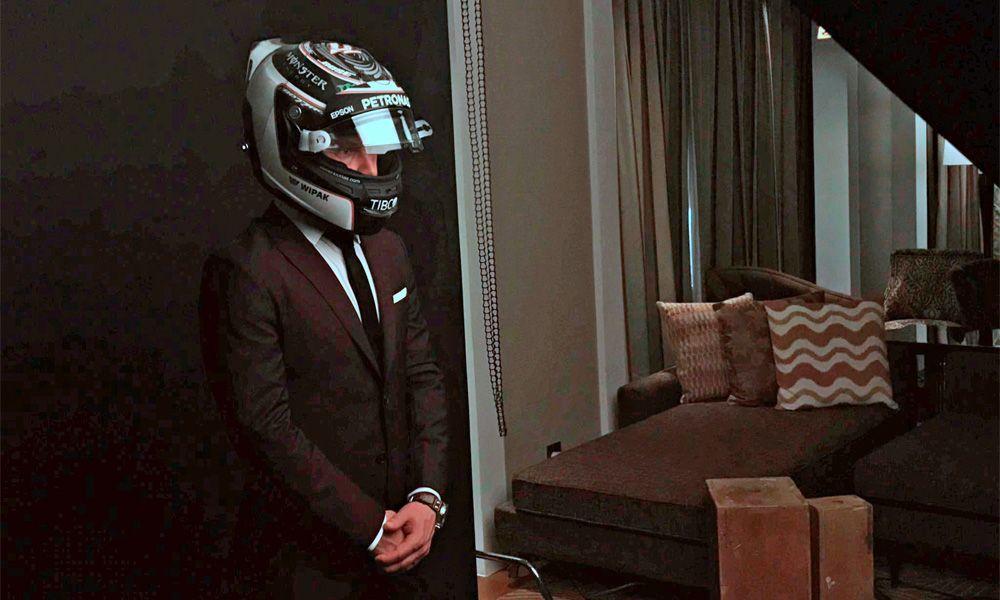 Mercedes driver Valtteri Bottas dresses up for a photo shoot for Esquire Magazine