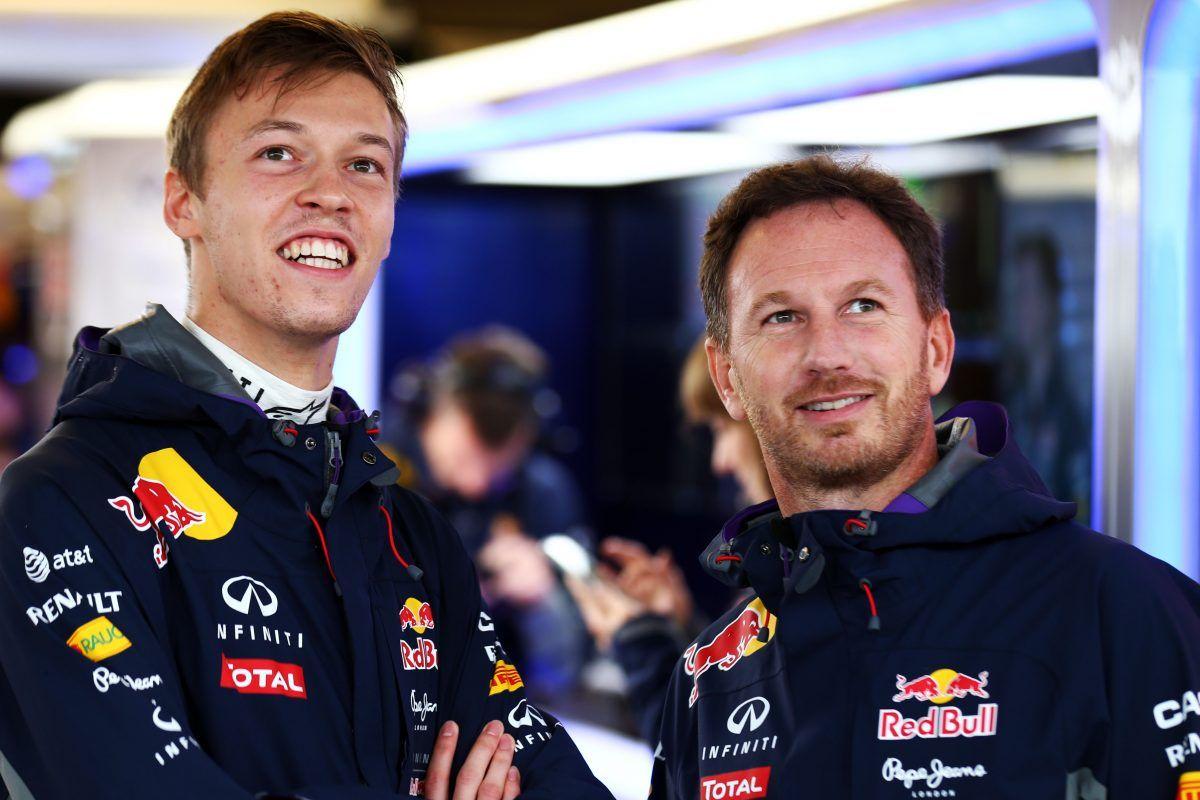 Daniil Kvyat (RUS) Red Bull Racing with Christian Horner (GBR) Red Bull Racing Team Principal.