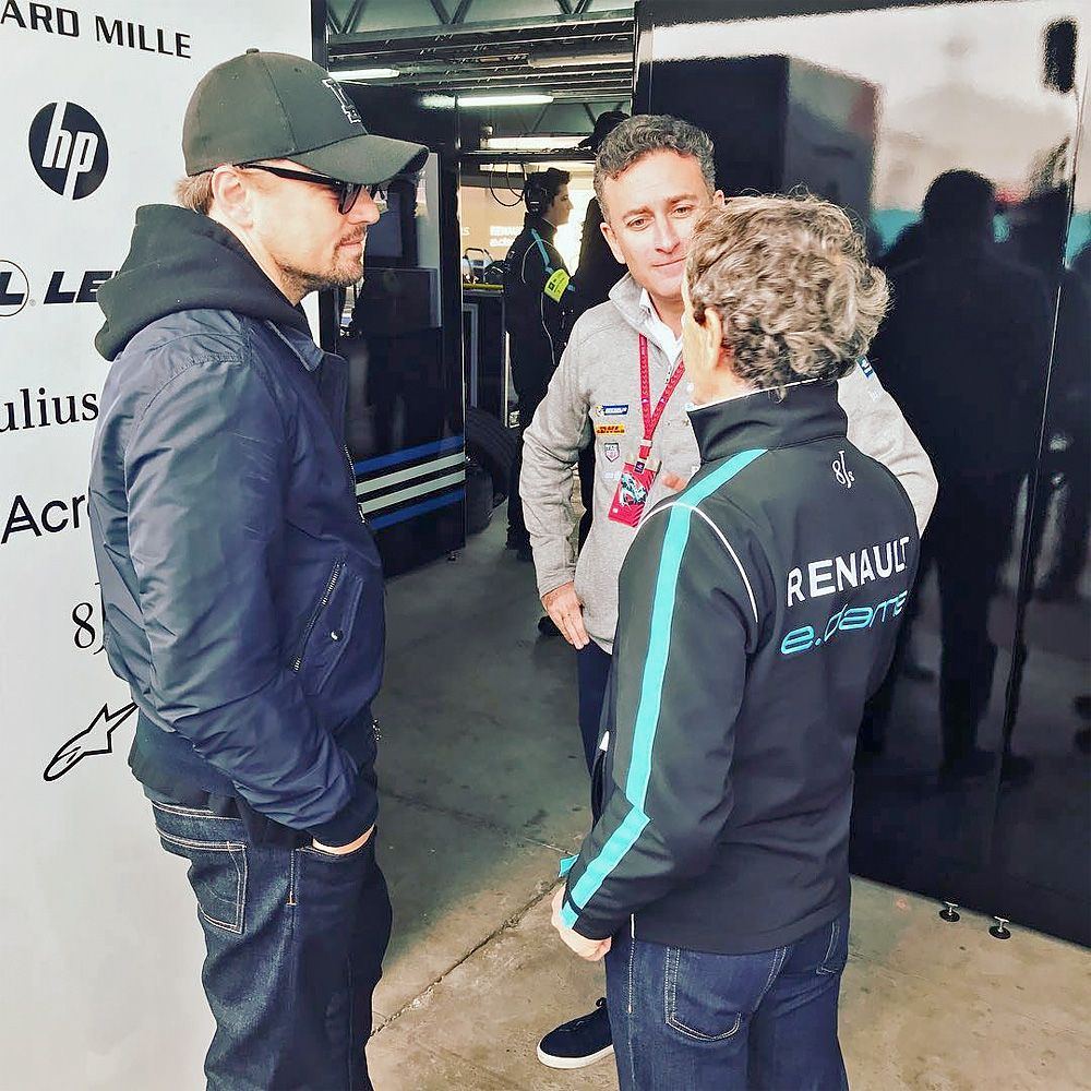 Leonardo DiCaprio, Alexander Agag and Alain Prost in discussion in Marrakesh