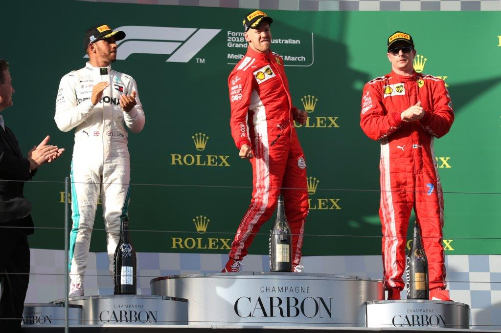 Lewis Hamilton, Sebastian Vettel, Kimi Raikkonen - 2018 Australian Grand Prix podium
