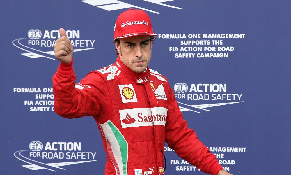 2012 German GP: Fernando Alonso (ESP) Ferrari celebrates his pole position