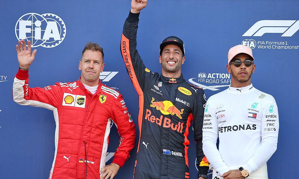 Monaco Grand Prix Pole for Daniel Ricciardo (AUS) Red Bull Racing RB14, 2nd for Sebastian Vettel (GER) Ferrari SF71H and 3rd for Lewis Hamilton (GBR) Mercedes AMG F1 W09