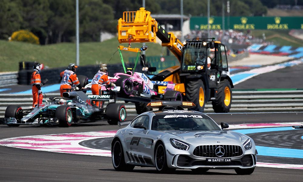 Lewis Hamilton (GBR) Mercedes AMG F1 W09 leads the French Grand Prix behind the FIA Safety Ca