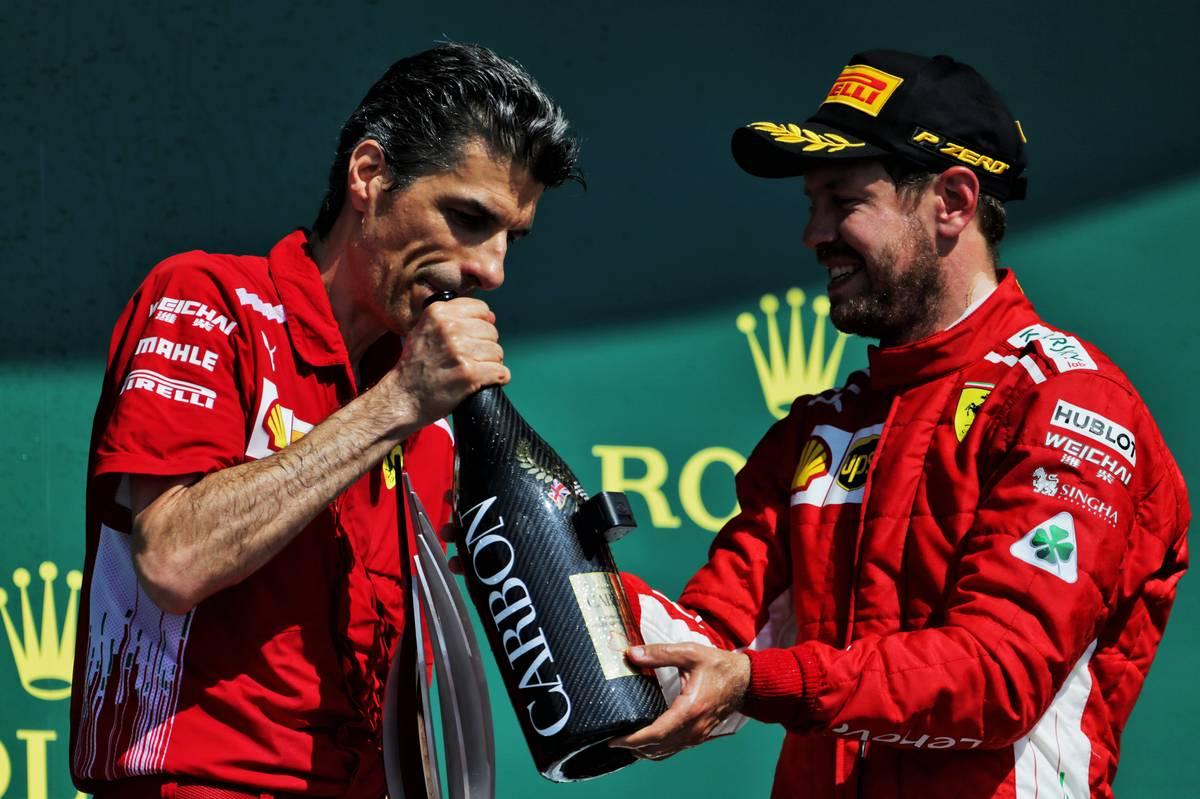 (L to R): Claudio Albertini (ITA) Ferrari celebrates on the podium
