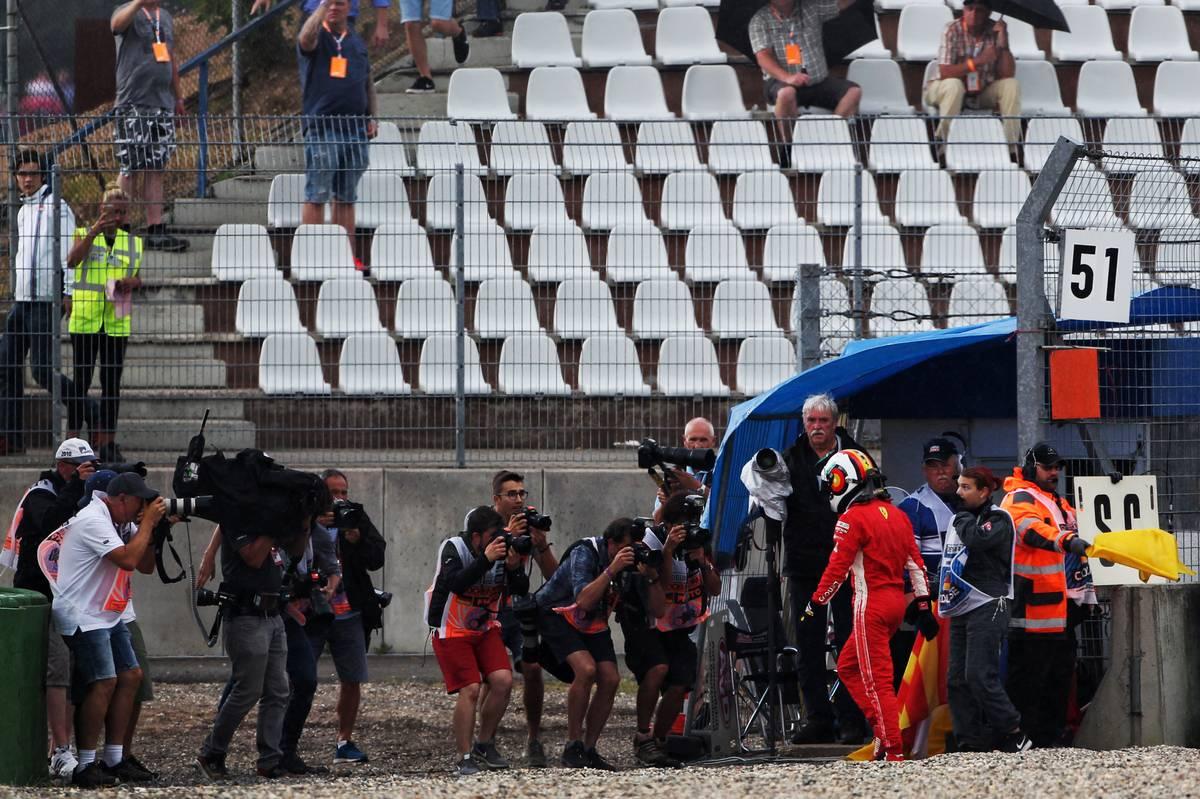 Sebastian Vettel (GER) Ferrari crashed out of the race.