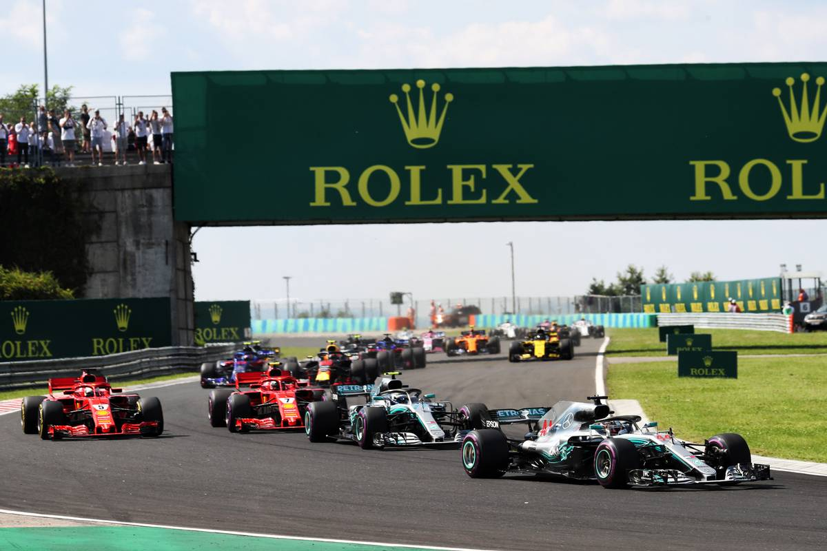 Lewis Hamilton (GBR) Mercedes AMG F1 W09 leads at the start of the Hungarian Grand Prix