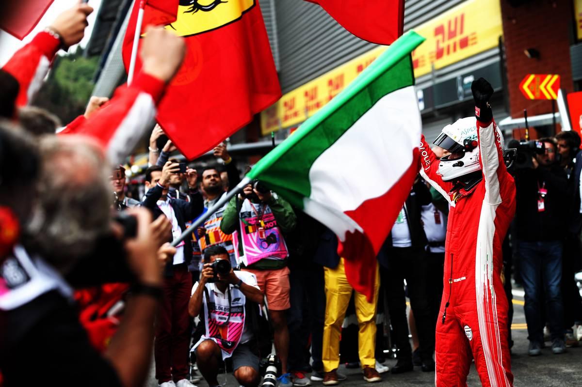 Belgian Grand Prix winner Sebastian Vettel (GER) Ferrari celebrates in parc ferme.